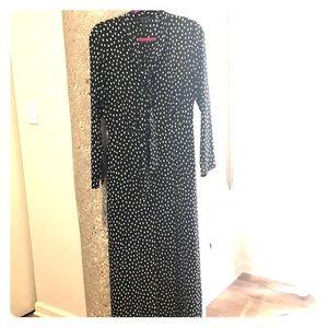 BCBG black dress w/polka dots; sz 6; new wo tags.